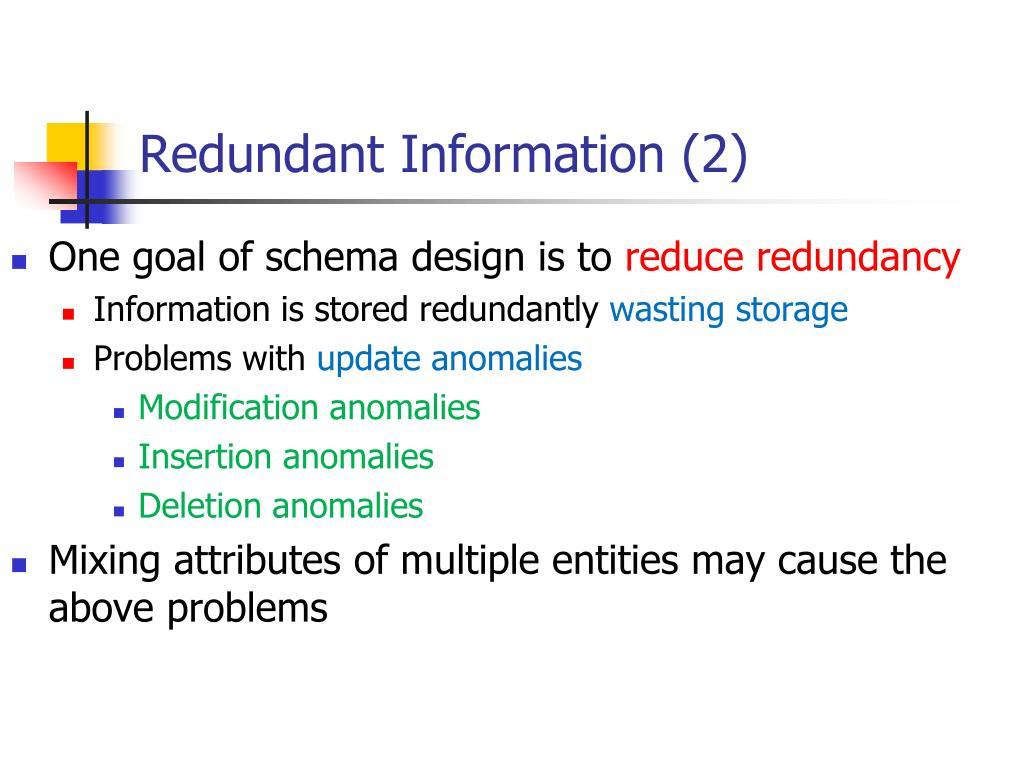 Redundant Information (2)