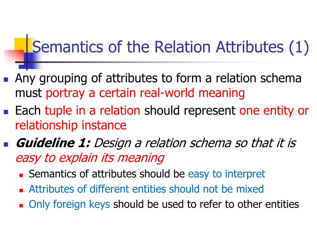 Semantics of the Relation Attributes (1)