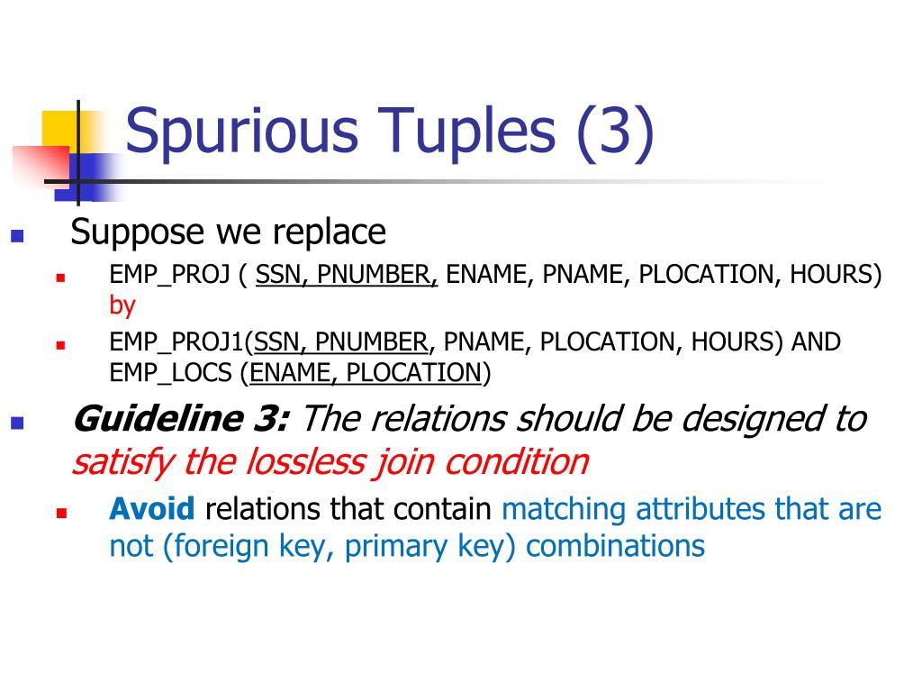 Spurious Tuples (3)