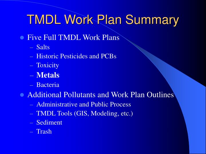 TMDL Work Plan Summary