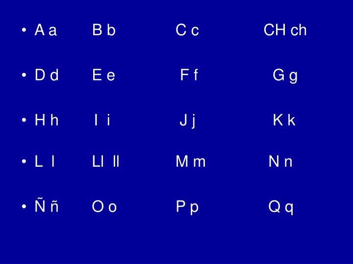 A a        B b        C c          CH ch