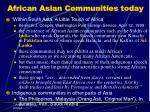 african asian communities today