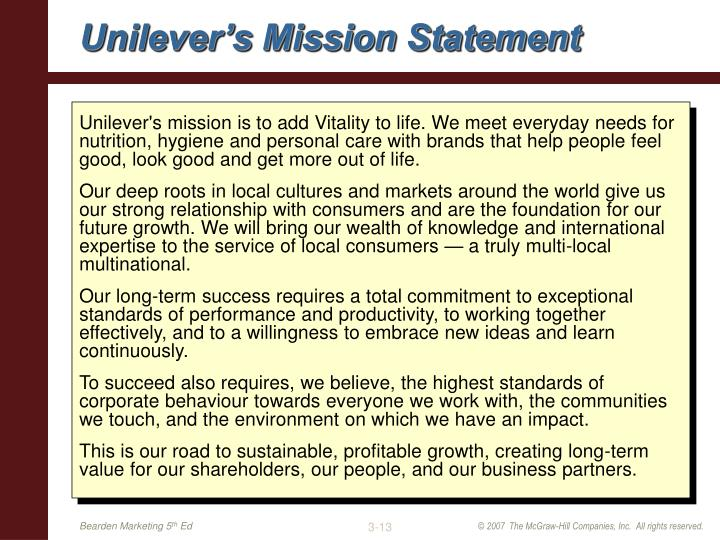 Unilever's Mission Statement