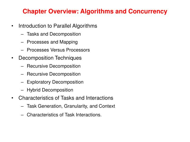 Chapter overview algorithms and concurrency