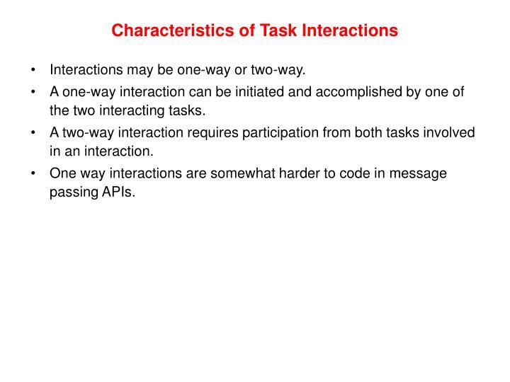Characteristics of Task Interactions