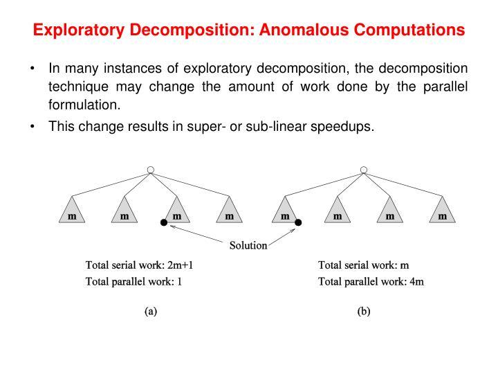 Exploratory Decomposition: Anomalous Computations