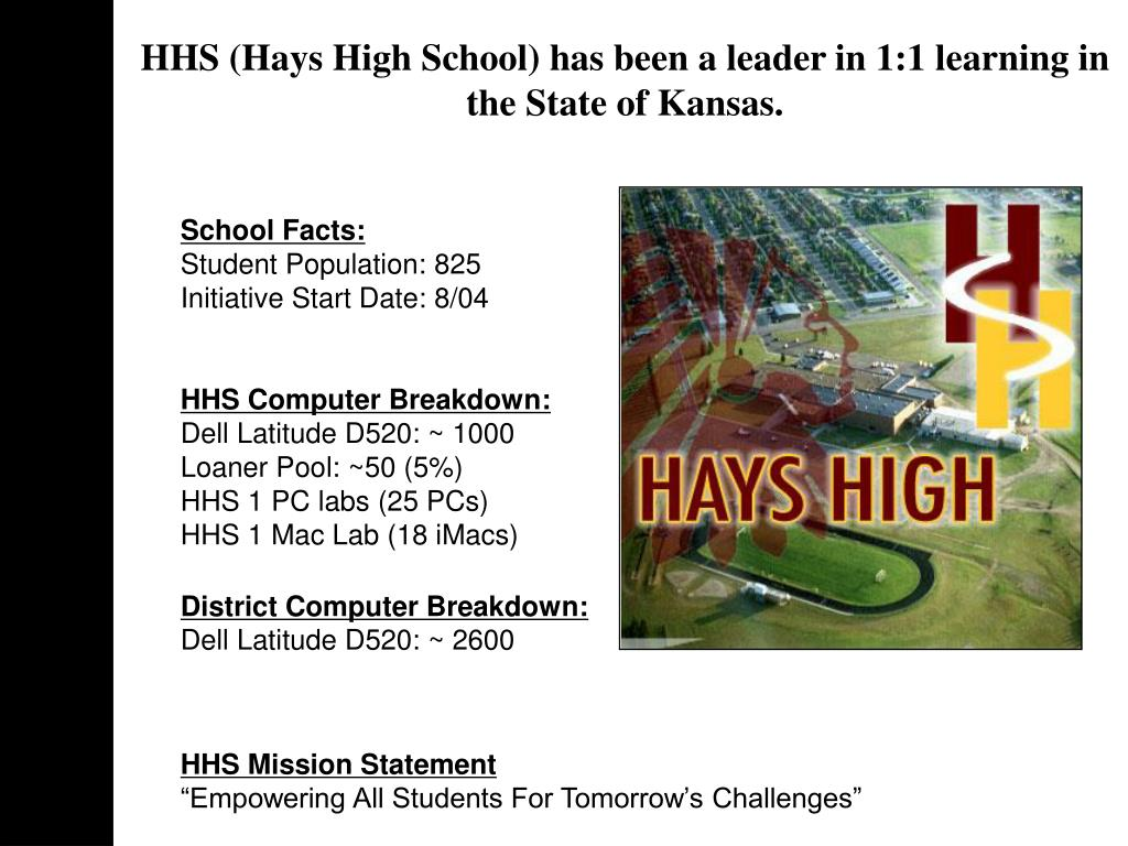 HHS (Hays High School) has been a leader in 1:1 learning in the State of Kansas.