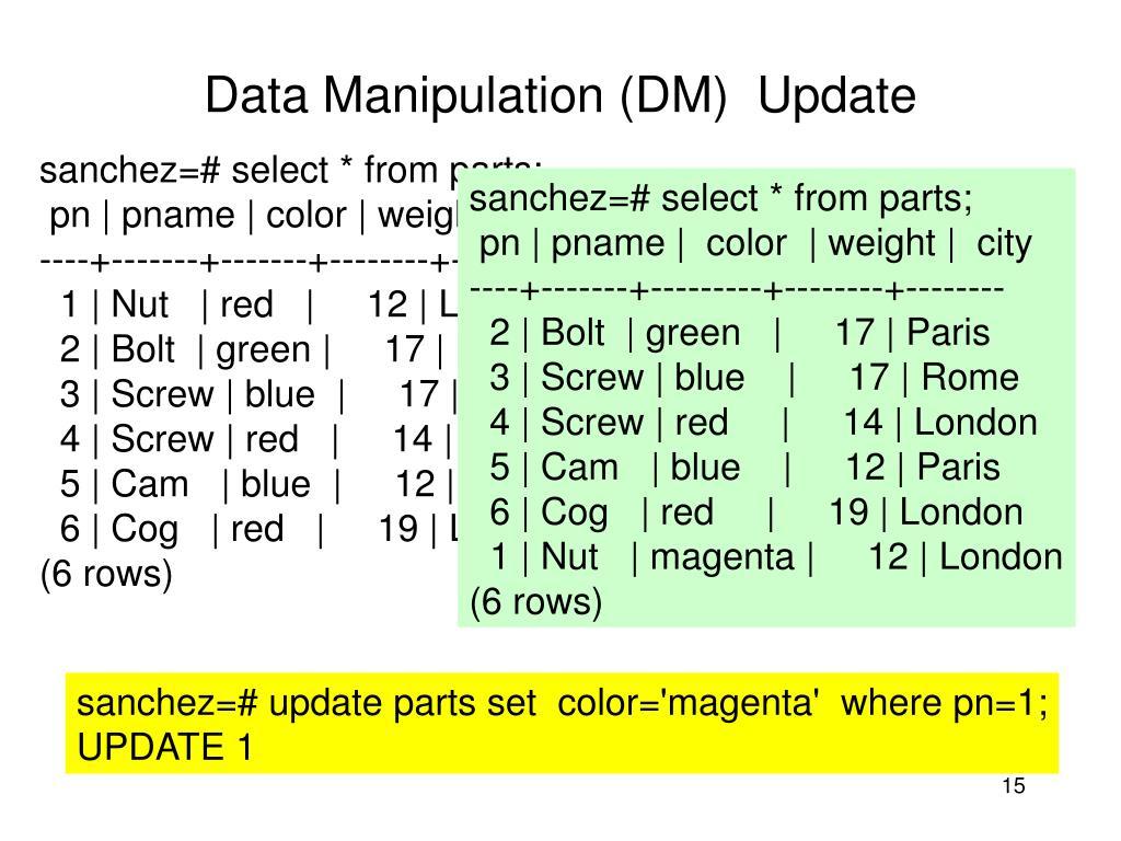 sanchez=# select * from parts;