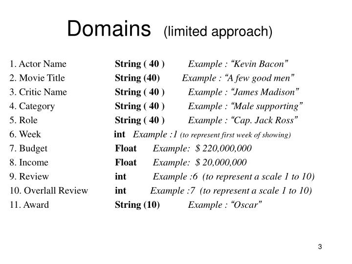 Domains limited approach