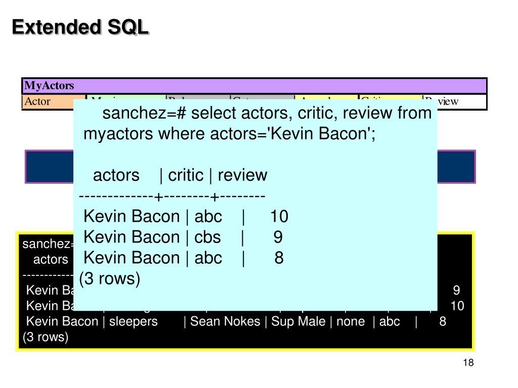 Extended SQL