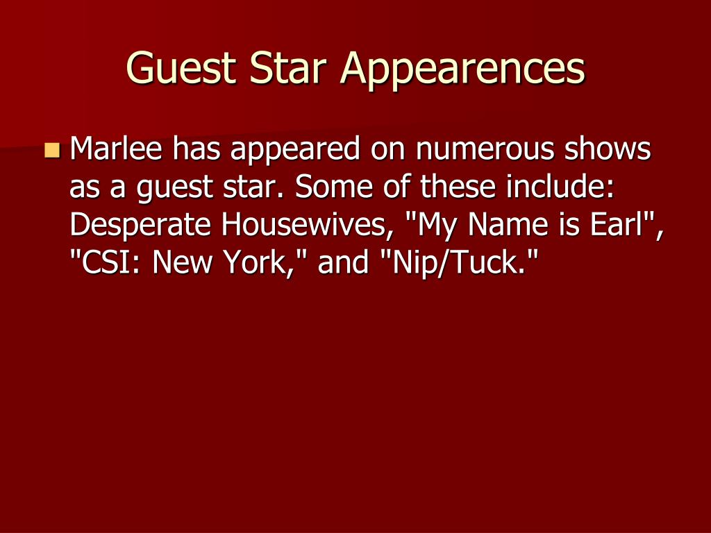 Guest Star Appearences