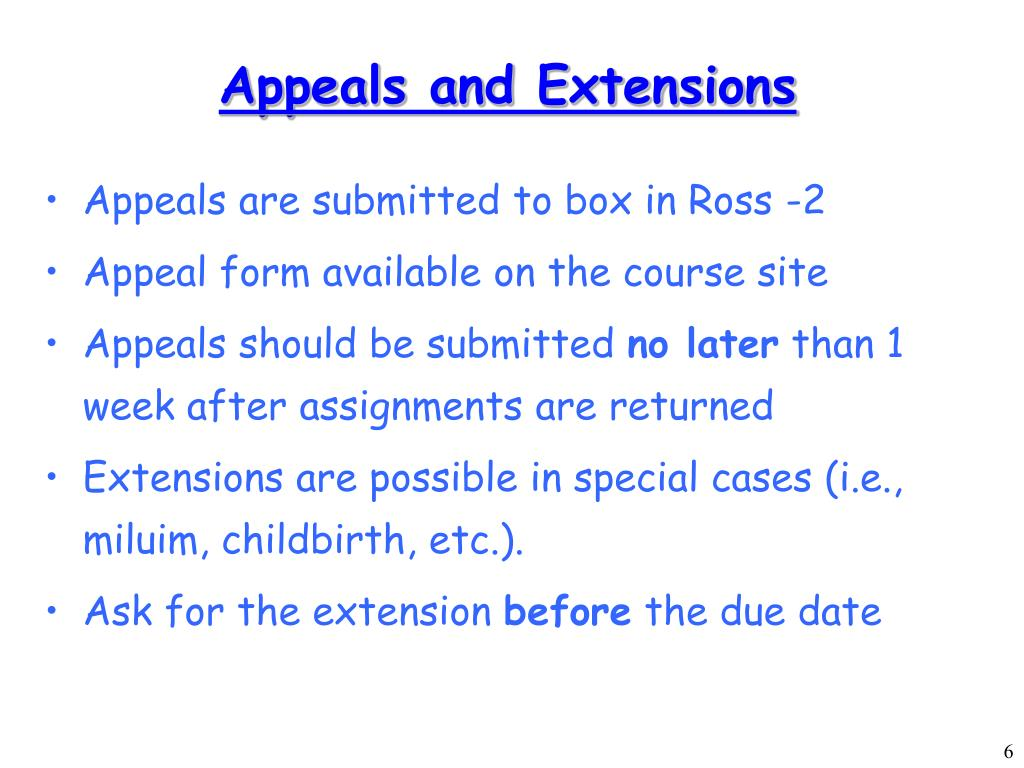 Appeals and Extensions