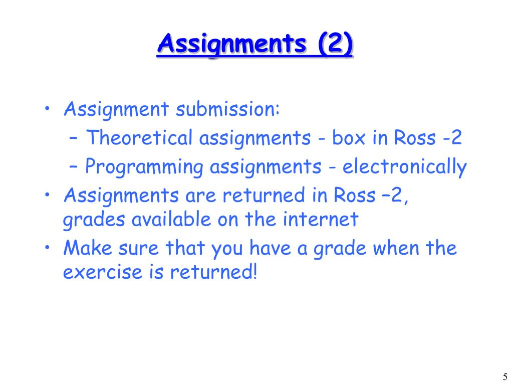 Assignments (2)