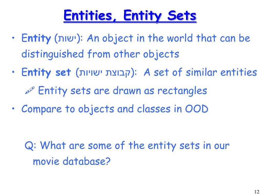 Entities, Entity Sets
