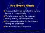 pre event meals