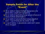 sample foods for after the event
