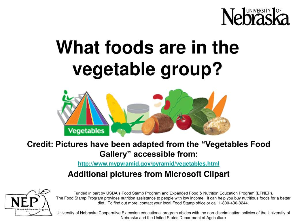what foods are in the vegetable group l.