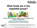 what foods are in the vegetable group