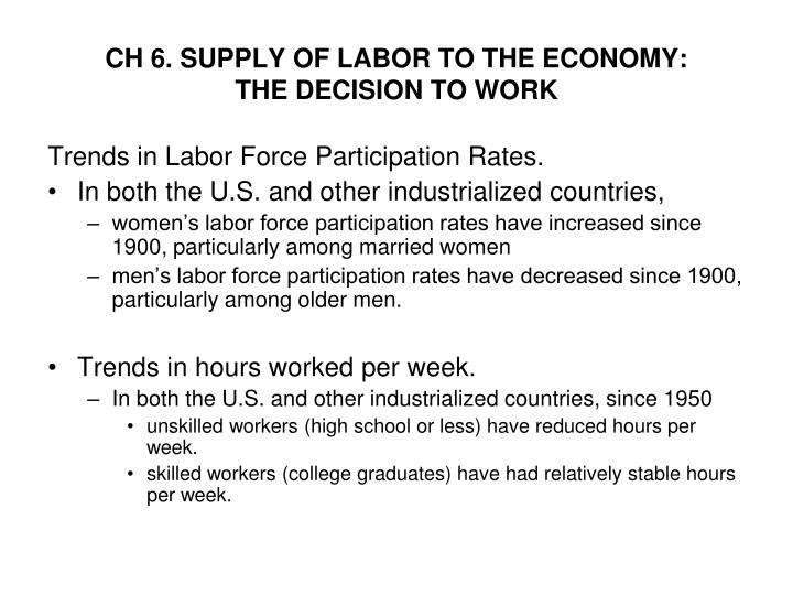 ch 6 supply of labor to the economy the decision to work n.