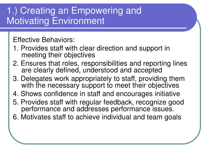 1.) Creating an Empowering and