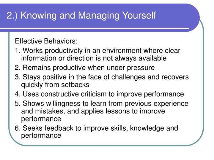 2.) Knowing and Managing Yourself