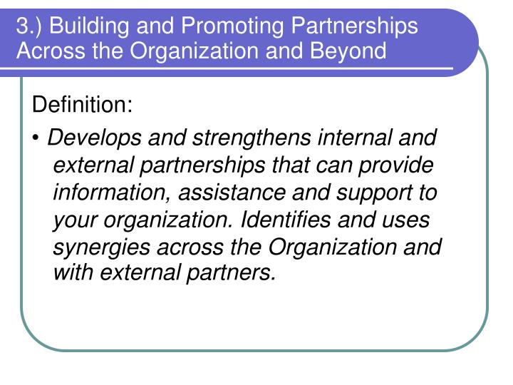 3.) Building and Promoting Partnerships Across the Organization and Beyond