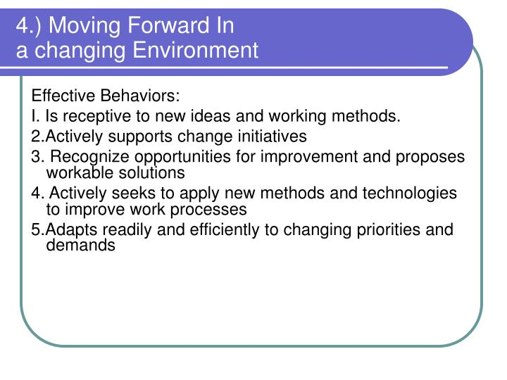 4.) Moving Forward In