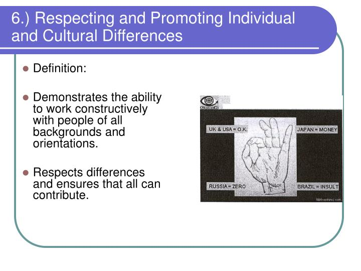 6.) Respecting and Promoting Individual and Cultural Differences