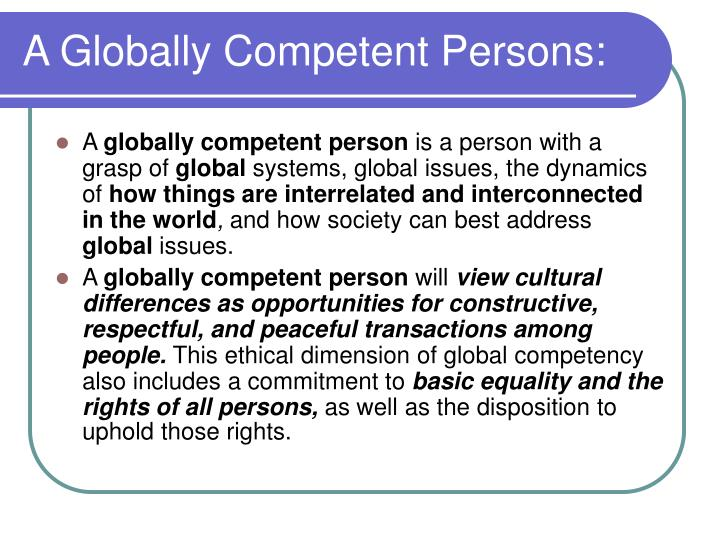 A Globally Competent Persons: