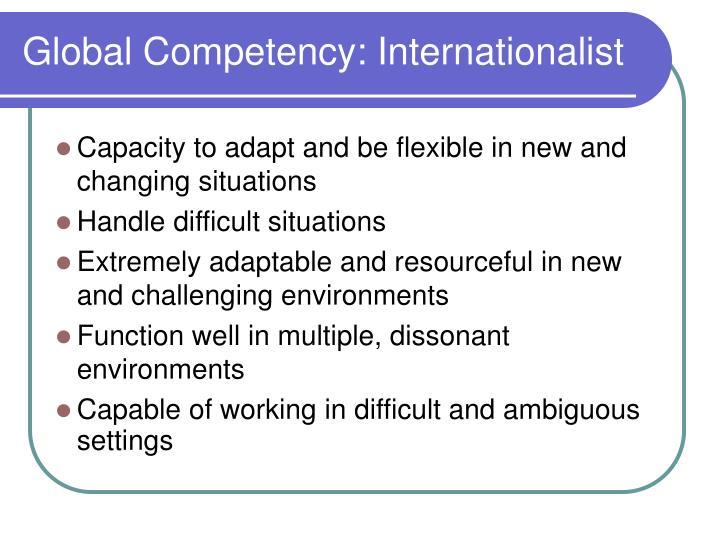Global Competency: Internationalist