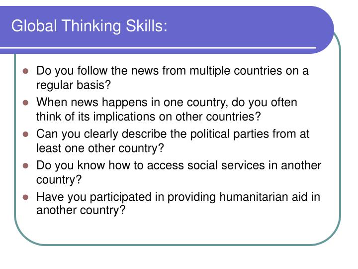 Global Thinking Skills: