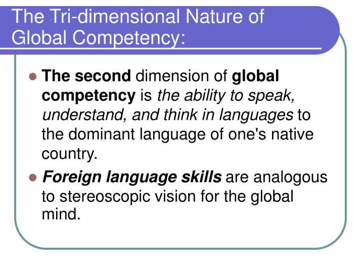 The Tri-dimensional Nature of Global Competency: