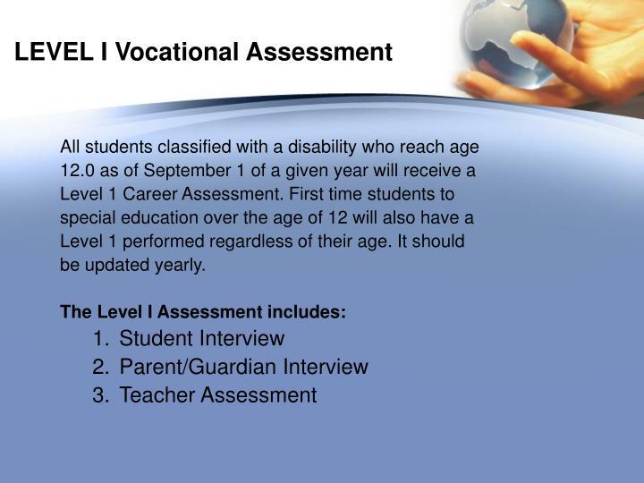 LEVEL I Vocational Assessment