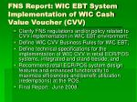 fns report wic ebt system implementation of wic cash value voucher cvv