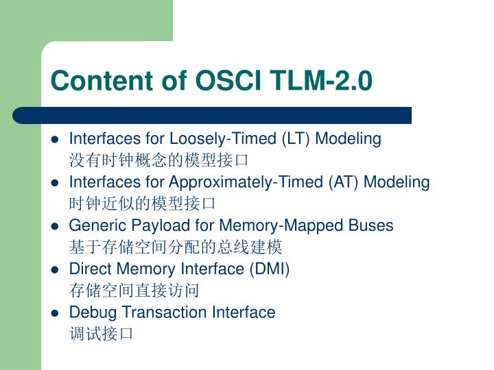Content of OSCI TLM-2.0