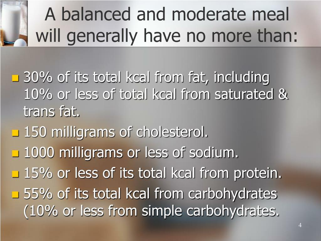A balanced and moderate meal will generally have no more than: