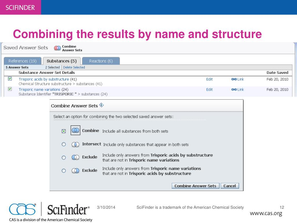Combining the results by name and structure