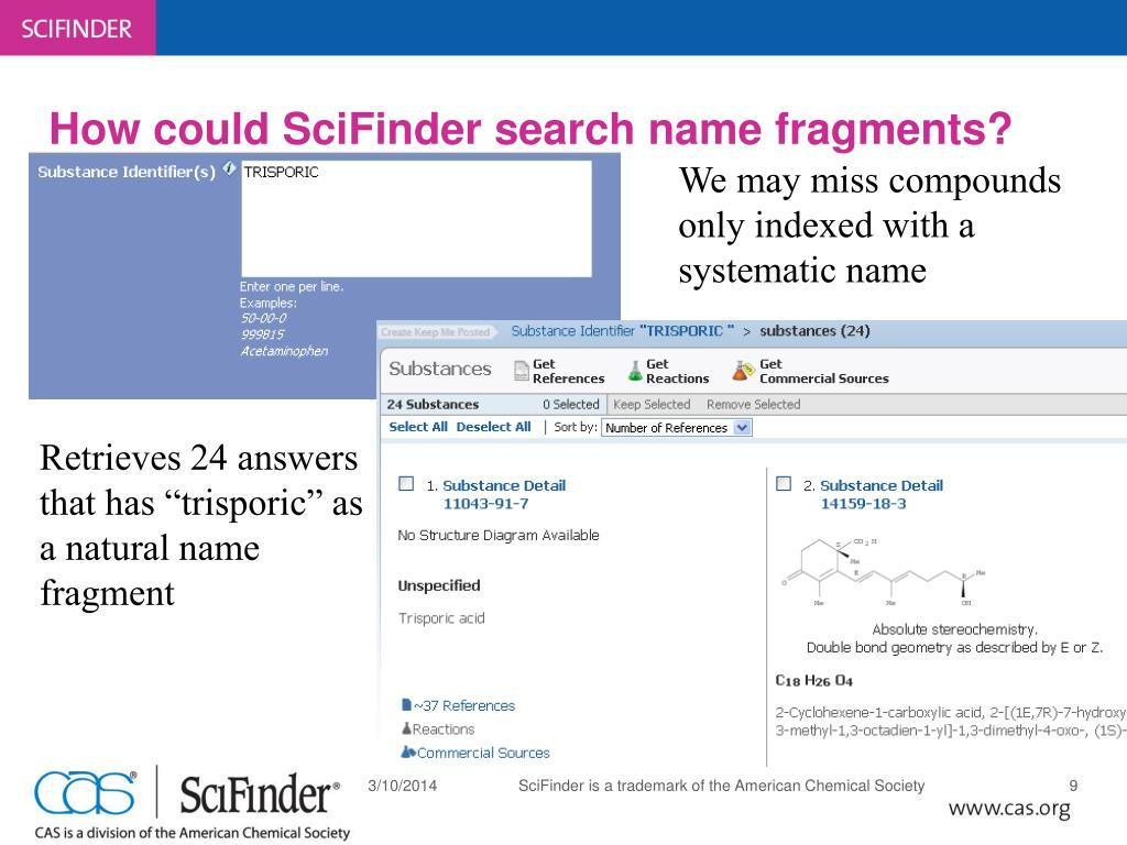 How could SciFinder search name fragments?