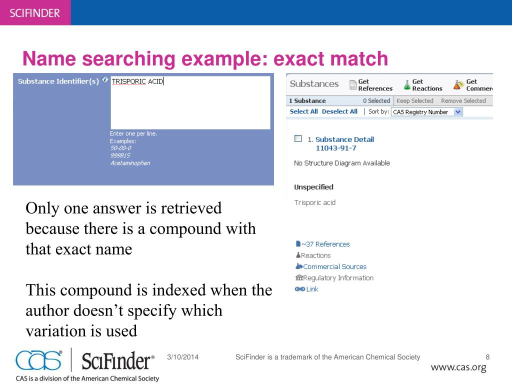 Name searching example: exact match