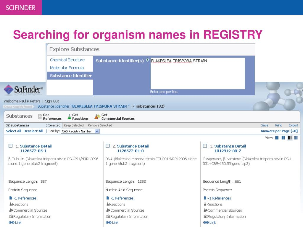 Searching for organism names in REGISTRY