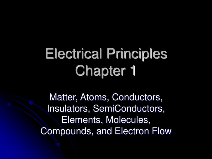 electrical principles chapter 1 n.