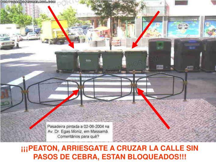 ¡¡¡PEATON, ARRIESGATE A CRUZAR LA CALLE SIN PASOS DE CEBRA, ESTAN BLOQUEADOS!!!