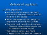 methods of regulation23