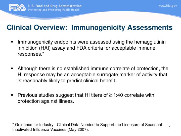 Clinical Overview:  Immunogenicity Assessments