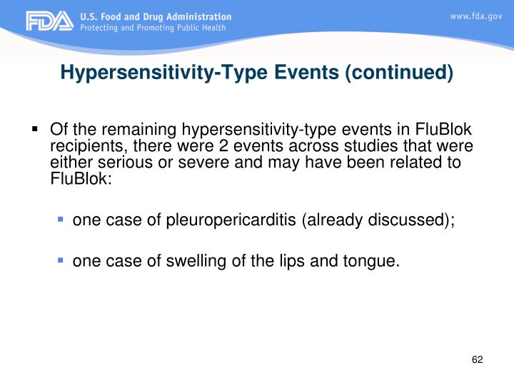 Hypersensitivity-Type Events (continued)