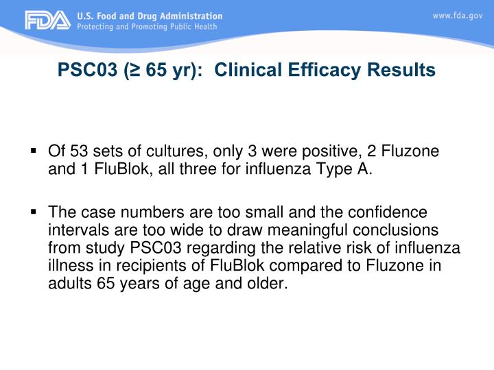 PSC03 (≥ 65 yr):  Clinical Efficacy Results