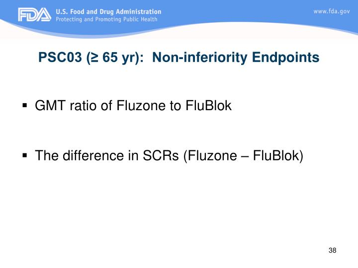 PSC03 (≥ 65 yr):  Non-inferiority Endpoints