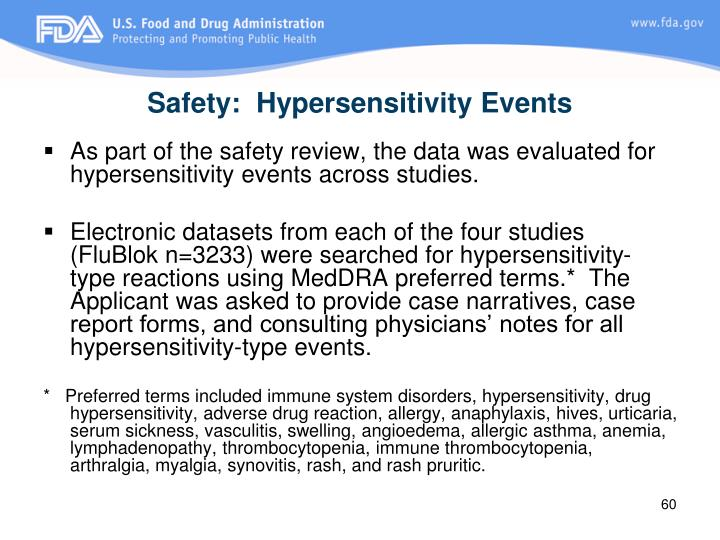 Safety:  Hypersensitivity Events