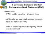 4 develop a complete and fair performance work statement pws
