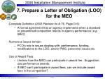 7 prepare a letter of obligation loo for the meo